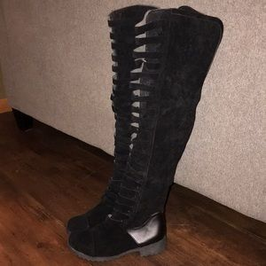 Shoes - Black heeled thigh high boots